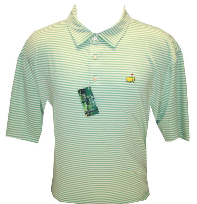 Masters Peter Millar Light Green Striped Performance Tech Golf Shirt (XXL Only)