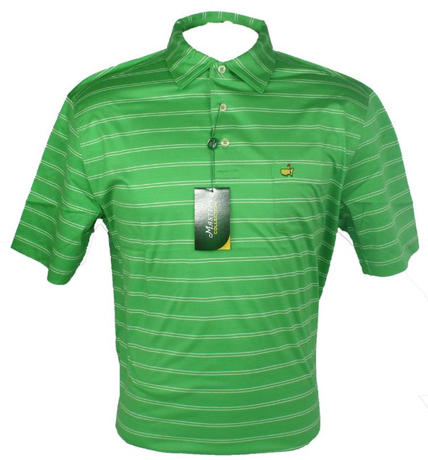 Masters Lawn & White Striped Jersey Golf Shirt