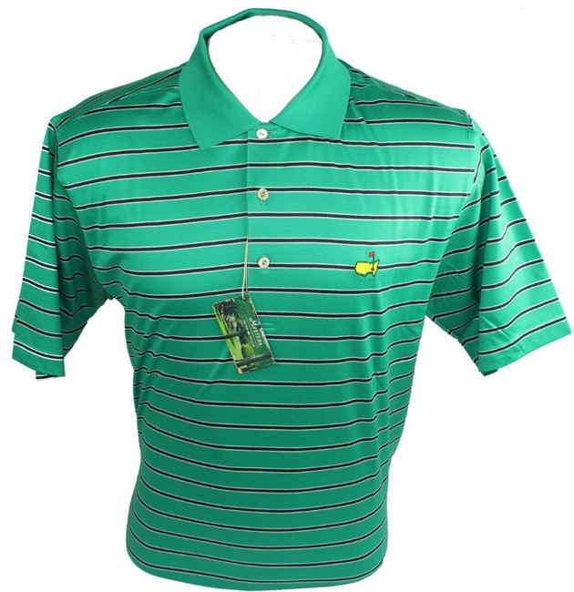 Masters Peter Millar Clubhouse Green Navy & White Golf Shirt