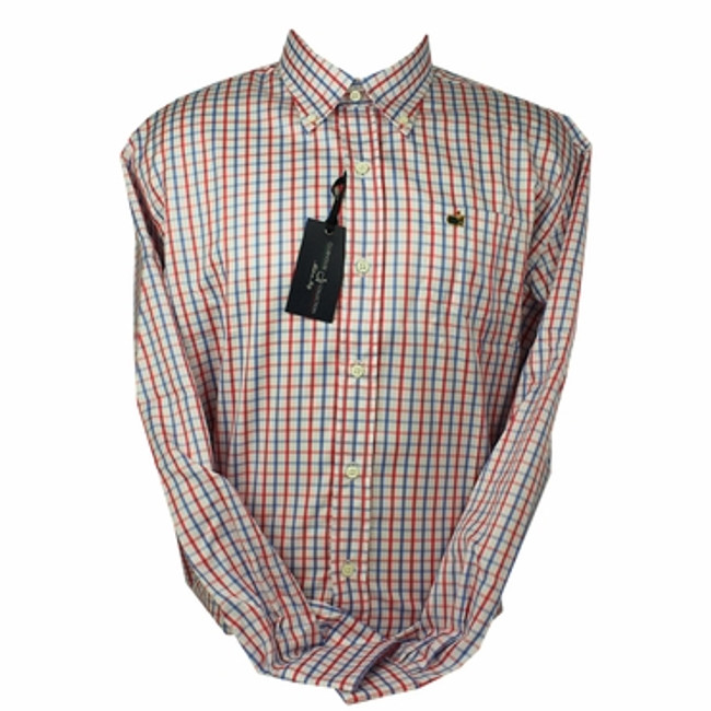 Clubhouse Collection Gingham Dress Shirt -Coral and Navy