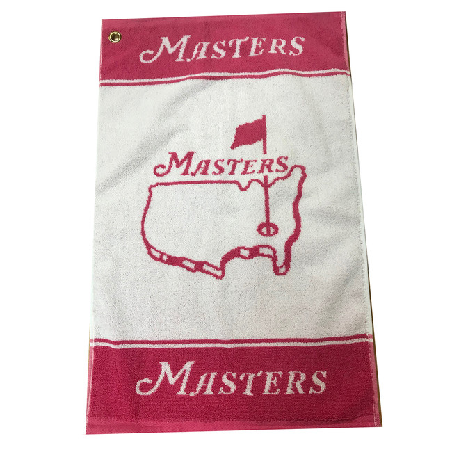 Masters Woven Golf Towel - Pink & White