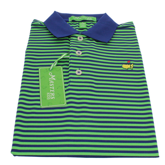 Masters Navy and Green Striped Pique Polo