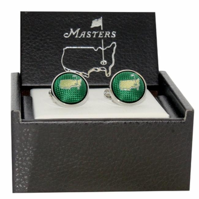 Masters Cuff Links - Green Silk Logo