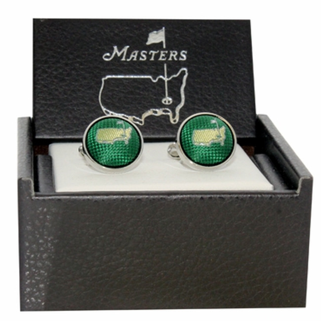 Masters Cuff Links - Green Silk Logo