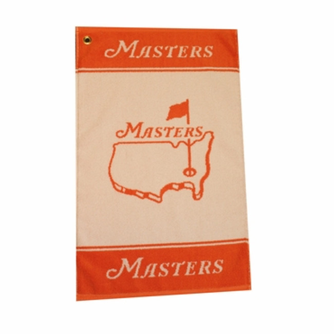 Masters Woven Golf Towel - Orange & White