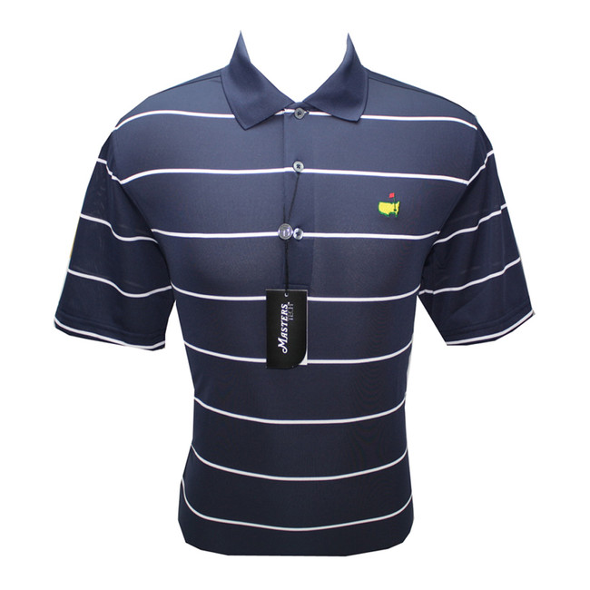Masters Tech Golf Shirt - Peacot Blue  With White Stripes