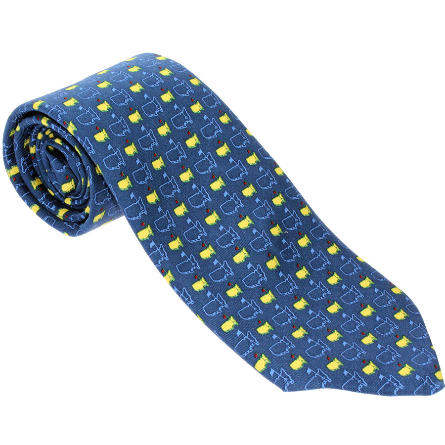 Masters Navy Blue Tie With Yellow Logos