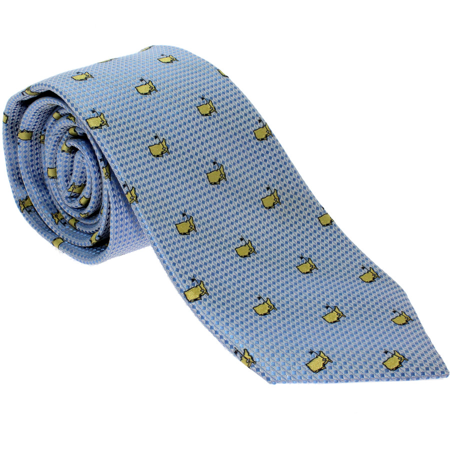 Masters Light Blue Tie With Yellow Logos
