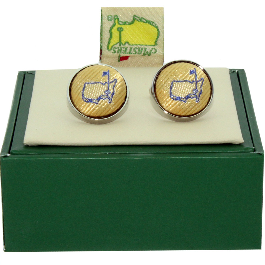 Masters Cuff Links - Yellow With Light Blue Logo
