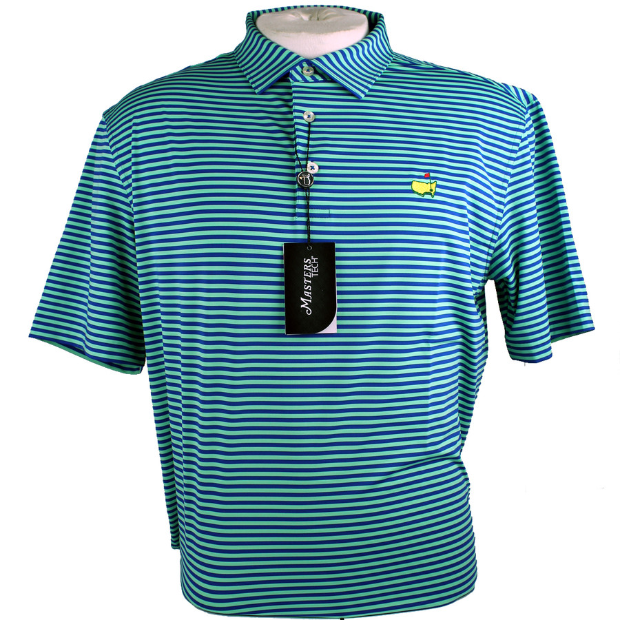 Masters Performance Tech Golf Shirt - Lime & Blue Striped