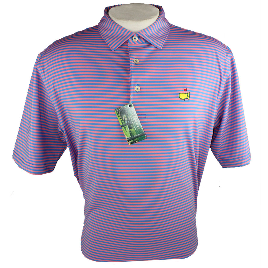 Peter Millar Performance Golf Shirt - Pink & Blue Striped