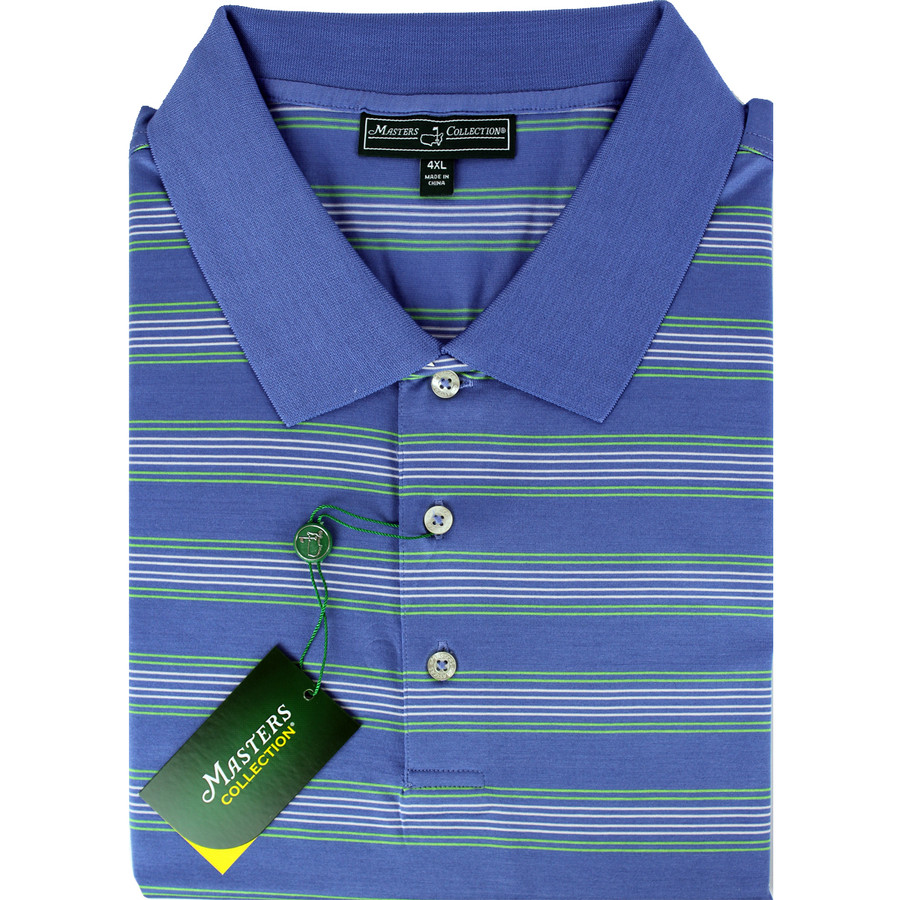 Masters Jersey Blue, Lime & White Striped Golf Shirt