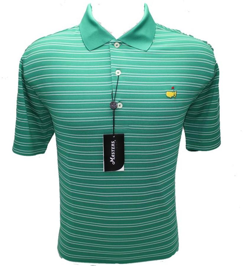 Masters Fairway Green & White Striped Performance Tech Golf Shirt (XXL Only)