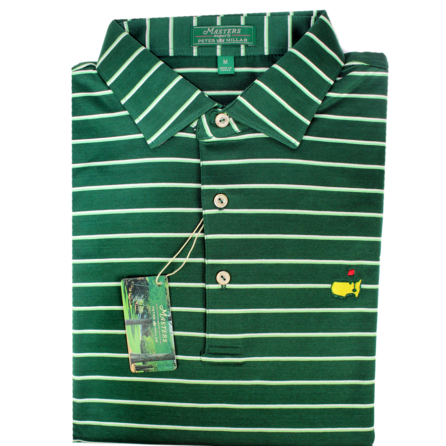 Masters Peter Millar Green, Lime & White Performance Polo Shirt