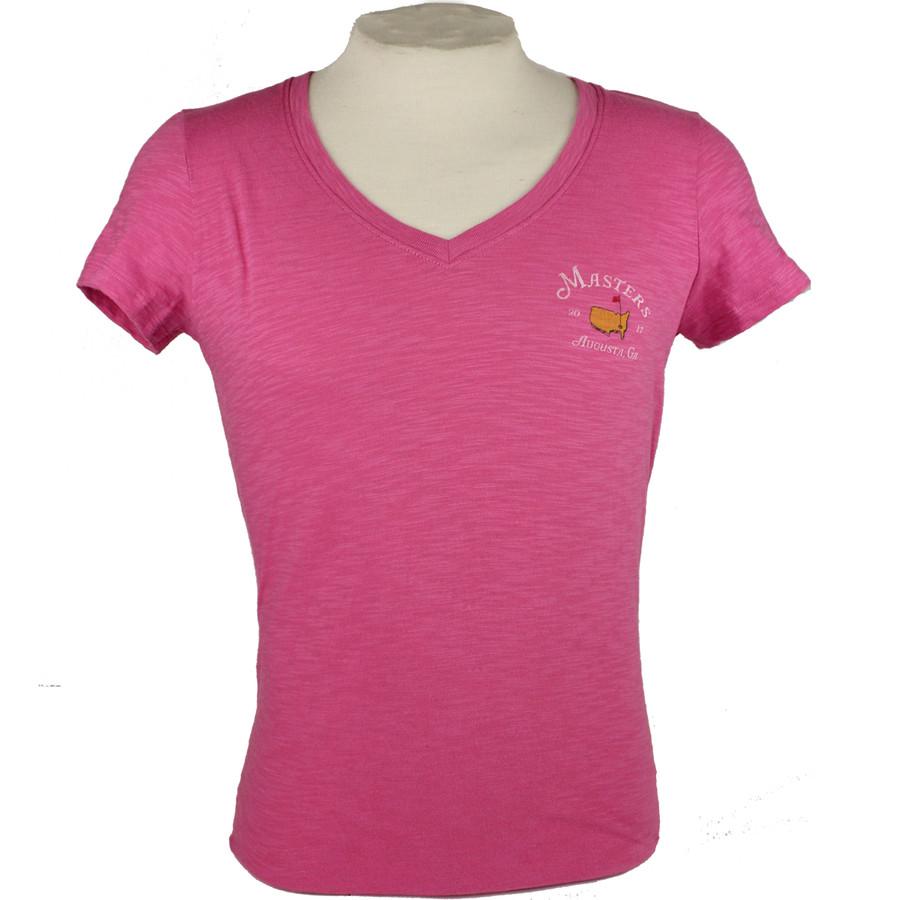 Masters 2017 Ladies Pink V-Neck T-Shirt