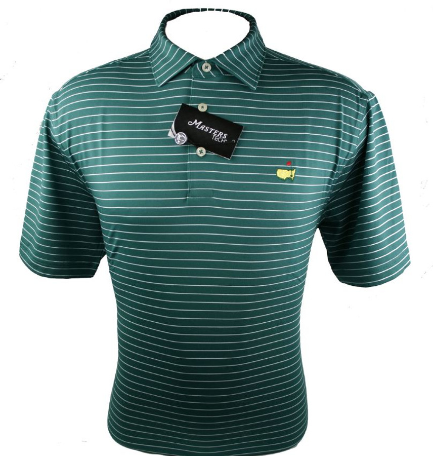 Masters Evergreen & Thin White Striped Performance Tech Golf Shirt