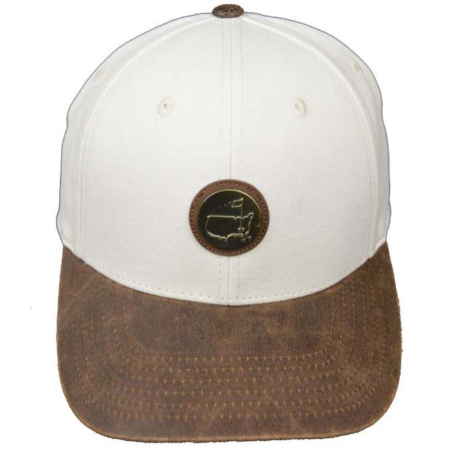 Masters Metal Logo Faux Leather Creme Hat