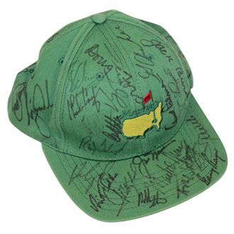 Masters Green Undated Champs Hat Signed by 35 Champs!