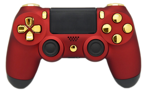 "Red & Gold ""Soft Touch"" PS4 Controller 