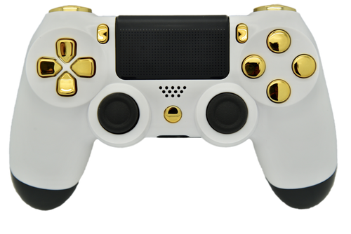 """White & Gold """"Soft Touch"""" PS4 Controller 