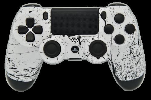 White & Black Splatter PS4 Controller   PS4