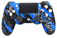 "Blue Splatter ""Soft Touch"" PS4 Controller 