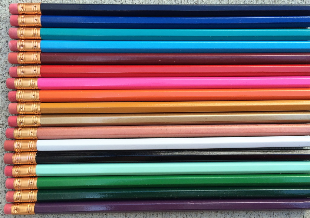 Hexagonal pencils in a huge variety of colors await your custom printed text.