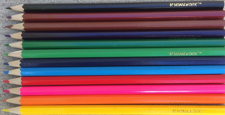 Twelve colors of hexagonal coloring pencils sold by the dozen as a set for personalization.