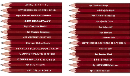 This picture shows the selection of 8pt fonts for using on personalized pencils sold by the dozen by Explicitly Yours.