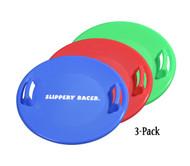 Slippery Racer Downhill Pro Snow Saucer Disc Sled - 3 PACK