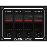 Paneltronics Waterproof Panel - DC 4-Position Illuminated Rocker Switch & Fuse  [9960011B]