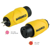 Marinco Straight Adapter 15Amp Straight Male to 30Amp Locking Female Connector  [S15-30]