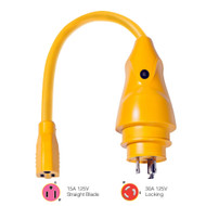 Marinco P30-15 EEL 15A-125V Female to 30A-125V Male Pigtail Adapter - Yellow  [P30-15]