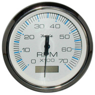 "Faria Chesapeake White SS 4"" Tachometer w/Hourmeter - 7,000 RPM (Gas - Outboard)  [33840]"