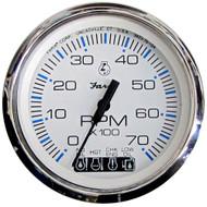 "Faria Chesapeake White SS 4"" Tachometer w/Systemcheck Indicator - 7,000 RPM (Gas - Johnson/Evinrude Outboard)  [33850]"