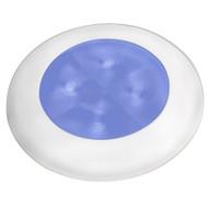 Slim Line LED 'Enhanced Brightness' Round Courtesy Lamp - Blue LED - White Plastic Bezel - 12V [980502241]