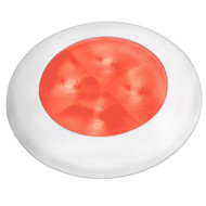 Hella Marine Slim Line LED 'Enhanced Brightness' Round Courtesy Lamp - Red LED - White Plastic Bezel - 12V [980507241]