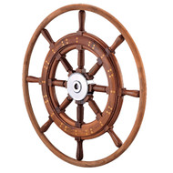 """Edson 30"""" Teak Yacht Wheel w\/Teak Rim  Chrome Hub [603CH-30]"""