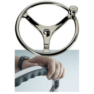 "Edson 13"" SS Comfort Grip Steering Wheel w/PowerKnob  [1710ST-13-KIT]"