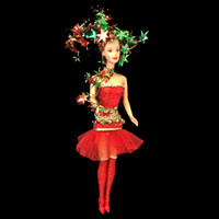 """Hand-stitched Christmas fashion for 11-1/2"""" doll"""