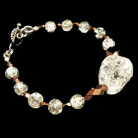 Crackle glass and copper XS bridal bracelet with beautiful focal bead.