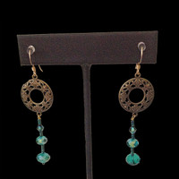 Handmade jewellery teal and gold color earrings