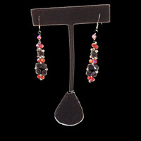 Handmade jewellery black and red crystal  dangling earrings