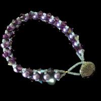Handmade jewellery bracelet with Czech pearls and Swarovski crystals