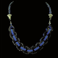 Handmade jewellery black and blue beaded chain necklace