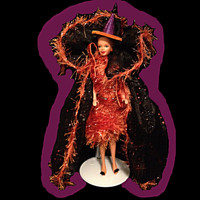 Handmade, hand stitched one-of-a-kind fashion doll fashion for Halloween