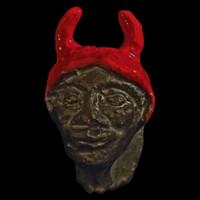 Handmade miniature clay sculpture good luck charm, DevGoyle Pan
