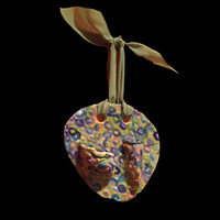 Handmade hanging dry flower vase, multicolored glazes on clay, private collection
