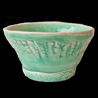 Handmade Celadon Glazed Beachy Small Clay Bowl