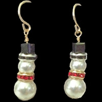 Handmade Swarovski Pearl and Crystal Snowman Earrings